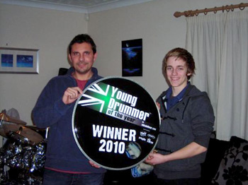 Danny with Ben, winner of Young Drummer of the Year 2010